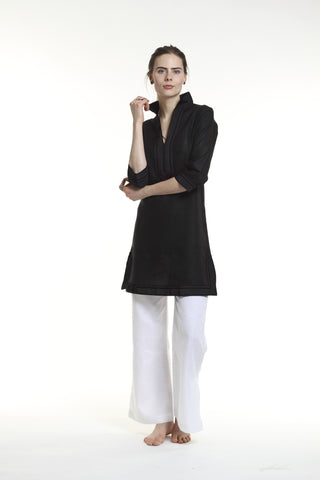 Black linen tunic dress. 100% linen, pre shrunk, linen bought locally from New York City.