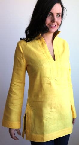 Canary Yellow mono Linen Tunic Top SMALL