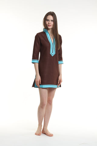 Chocolate Tunic Dress with Aqua Piping