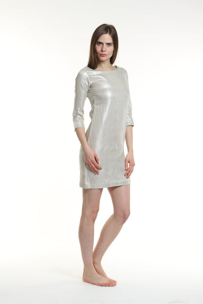 Metallic Classic Shift Dress by Guru in 100% Linen