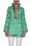 Emerald Print Linen Tunic Top XS