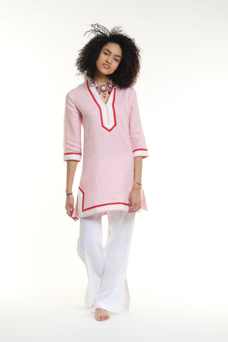 Baby pink body, broad trim is white and thin trim is red.  100% linen, pre shrunk, machine washable and dryer friendly.