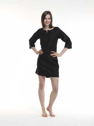 "he Juliet Shift Dress has a tailored fit with no closures and no zips.  This simple dress features 3/4 length sleeves and a 4 inch back slit. The Juliet dress is as popular as the Classic Shift dress.   Length: 37""  Fabric: 100% European Linen  Available colors: Black, White, Navy, Denim and Sand."