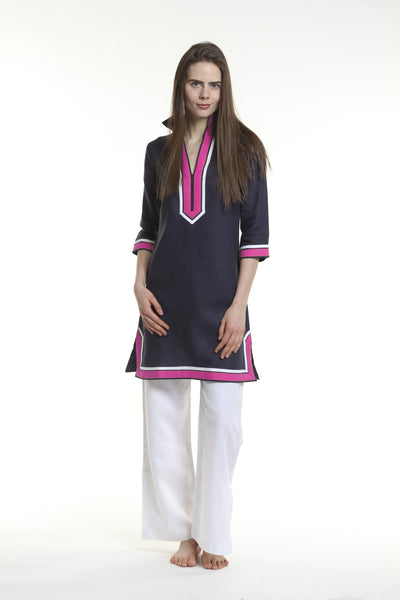 Navy body, broad trim is fuchsia and thin trim is white.  100% linen, pre shrunk, machine washable and dryer friendly.