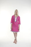 Fuchsia line body, with navy and white trim.  100% linen, pre shrunk, machine washable and dryer friendly.