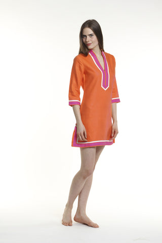 Orange body, broad trim is fuchsia and thin trim is white.  100% linen, pre shrunk, machine washable and dryer friendly.