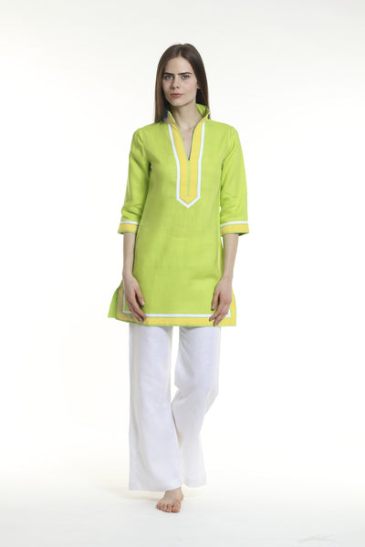 Lime green body, broad trim is yellow and thin trim is white.  100% linen, pre shrunk, machine washable and dryer friendly.