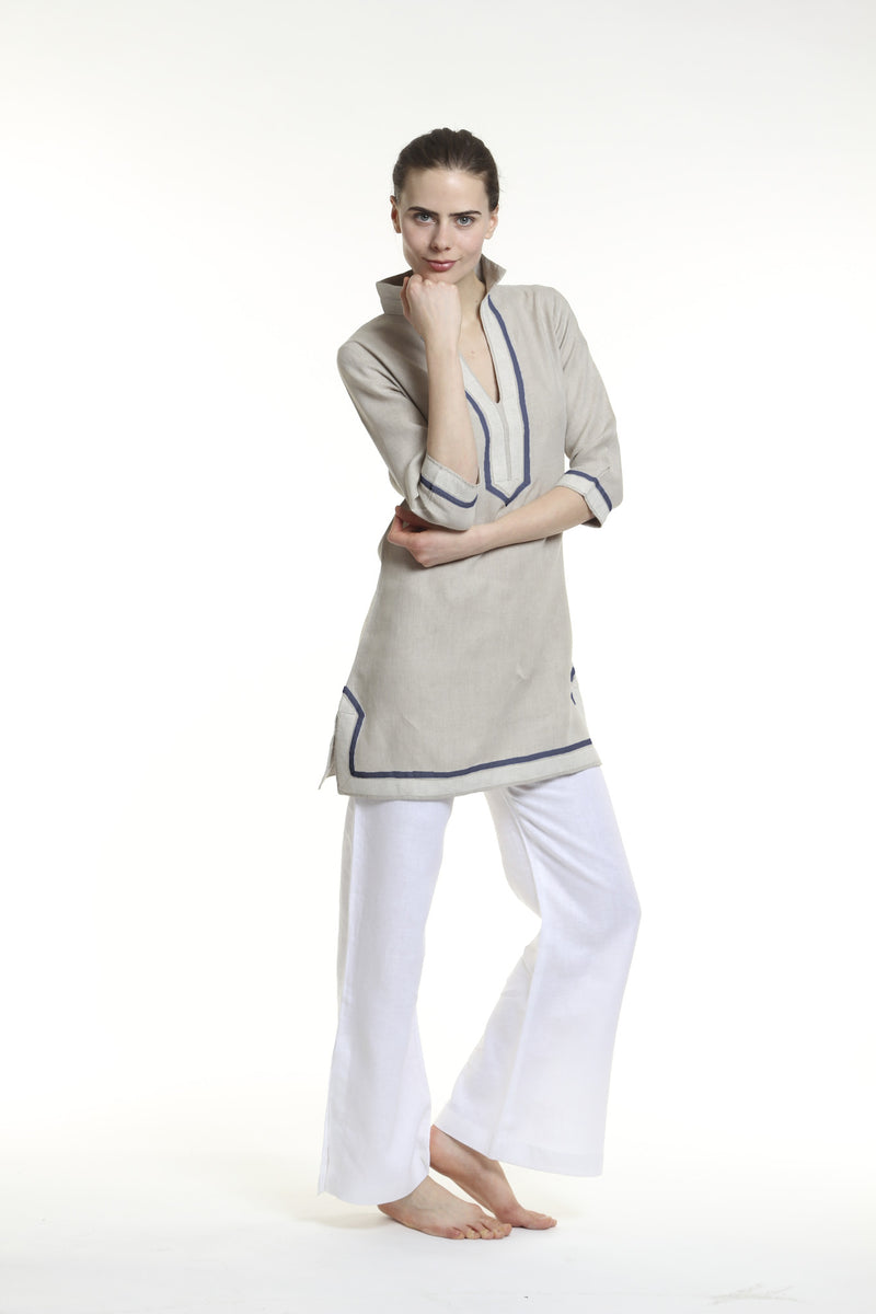 6e3e7cd4a76 Natural linen tunic dress with sand and navy details. 100% linen