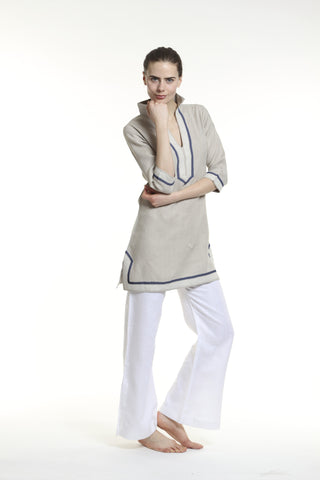 Natural linen tunic dress with sand and navy details. 100% linen, pre shrunk, linen bought locally from New York City.
