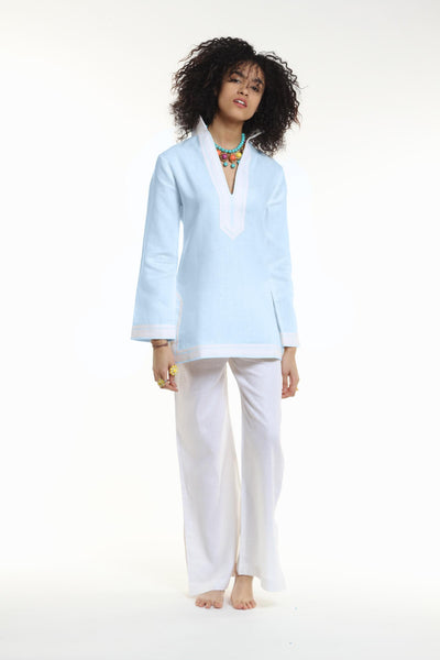 Pacific Blue Linen Tunic