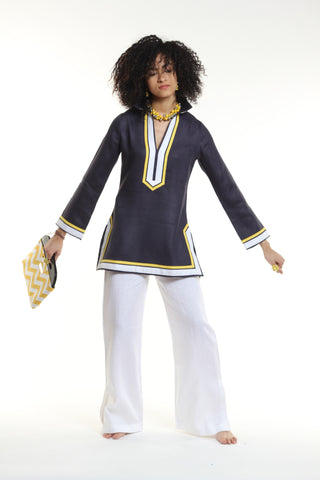 Navy linen tunic top, yellow and white details. Machine washable 100% linen bought locally in NYC.