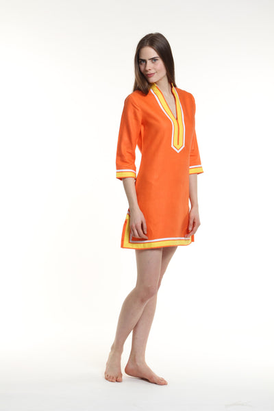 Orange body, broad trim is yellow and thin trim is white.  100% linen, pre shrunk, machine washable and dryer friendly.