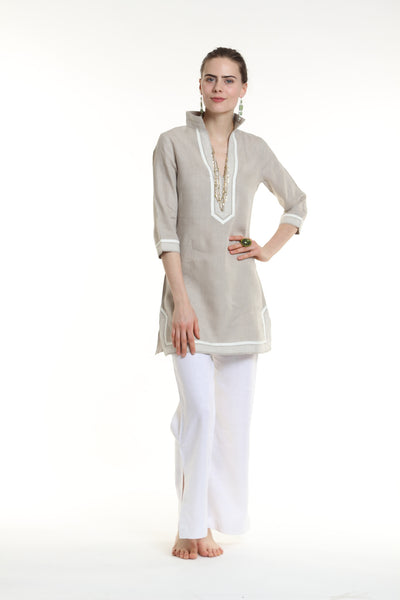 Natural linen tunic dress with sand and ivory details. 100% linen, pre shrunk, linen bought locally from New York City.