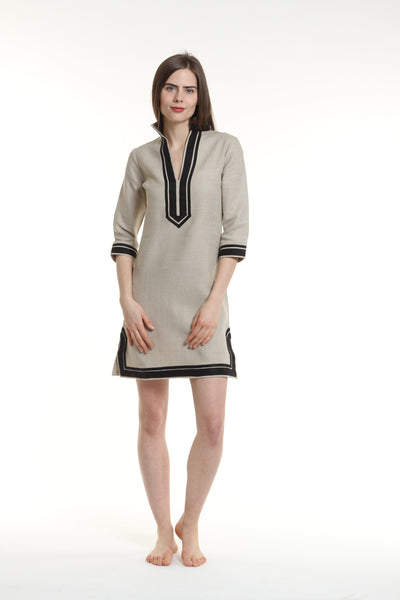Natural linen tunic dress with black details. 100% linen, pre shrunk, linen bought locally from New York City.