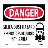 Danger-Silica Dust Respirator Required Sign