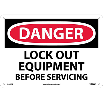 Danger Lockout Equipment Before Servicing Sign
