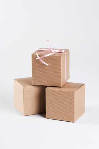 kraft gift box with lid 4x4x4