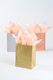 gold, silver or rose gold medium sized paper gift bags