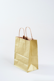 gold paper gift bag with kraft interior