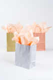 silver, gold, and rose gold medium gift bags