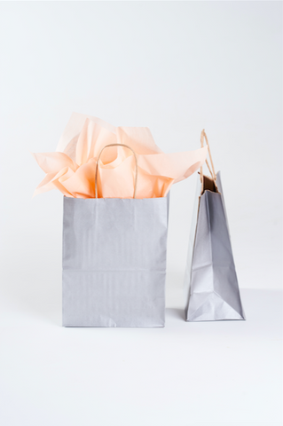 metallic silver paper gift bag