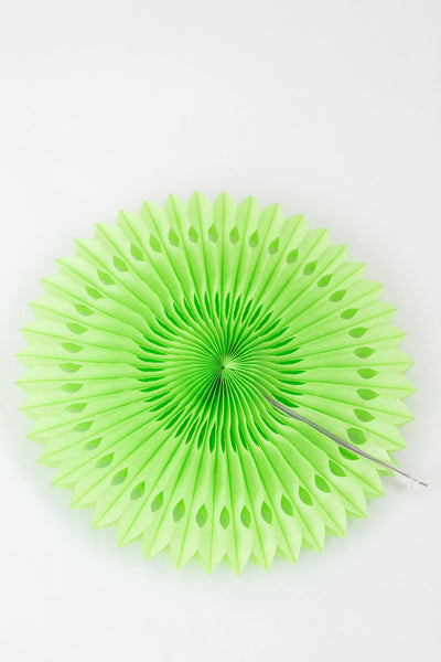 Green Paper Fan 12 inch | Fancy Tissue Paper Fan Decoration