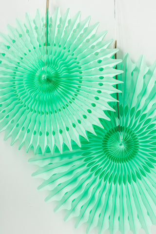 mint green tissue paper fan