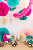 party decor in cream, pink, teal