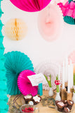 party backdrop with paper fans & garland