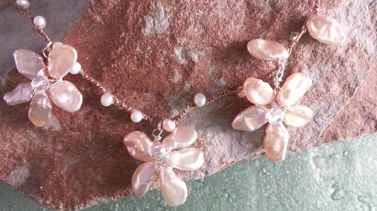 Pink Pearl Dogwood Necklace