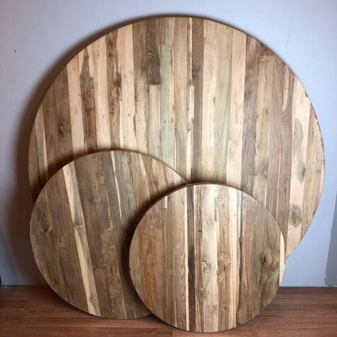 reclaimed teak round wood top