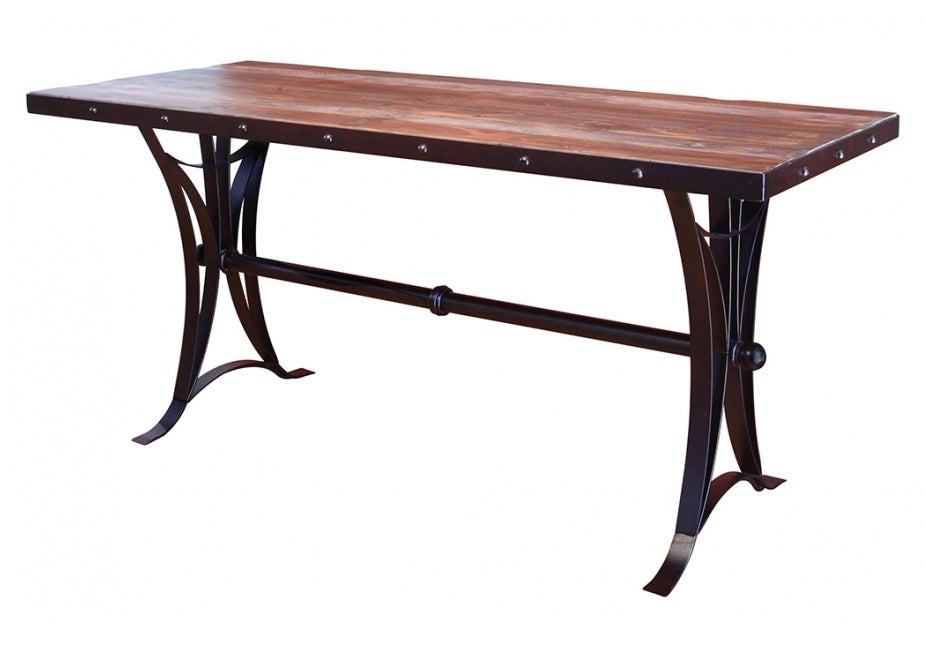 solid wood counter table with iron base