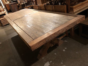 11-foot Dining Table from Reclaimed Teak with Architectural Base