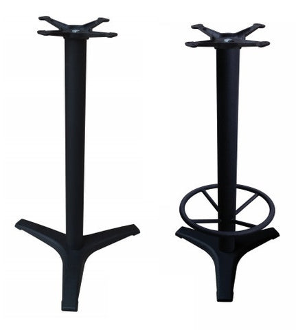 3-Prong Bar Height Base with Optional Footrest in Cast Iron