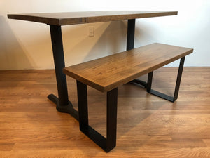 Custom Wood Table Bench Set