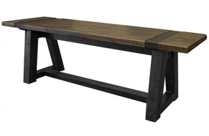 Modern industrial wood bench