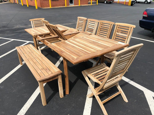 Teak Wood Outdoor Rectangular Extendable Dining Table 71