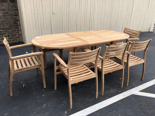 Teak Wood Outdoor Oval Extendable Dining Table 47