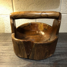 Rustic teak wooden decorative basket