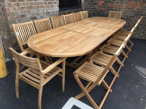 Teak Wood Outdoor Oval Extendable Dining Table 79