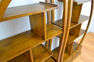 Yin Yang Shelves or Bookshelves Solid Teak Wood