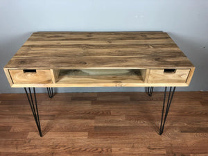 Teak wood desk with shelf and drawers, unfinished