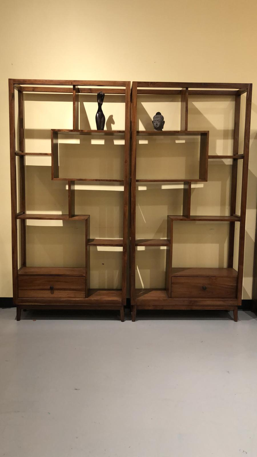 Teak wood twin bookcase / bookshelf