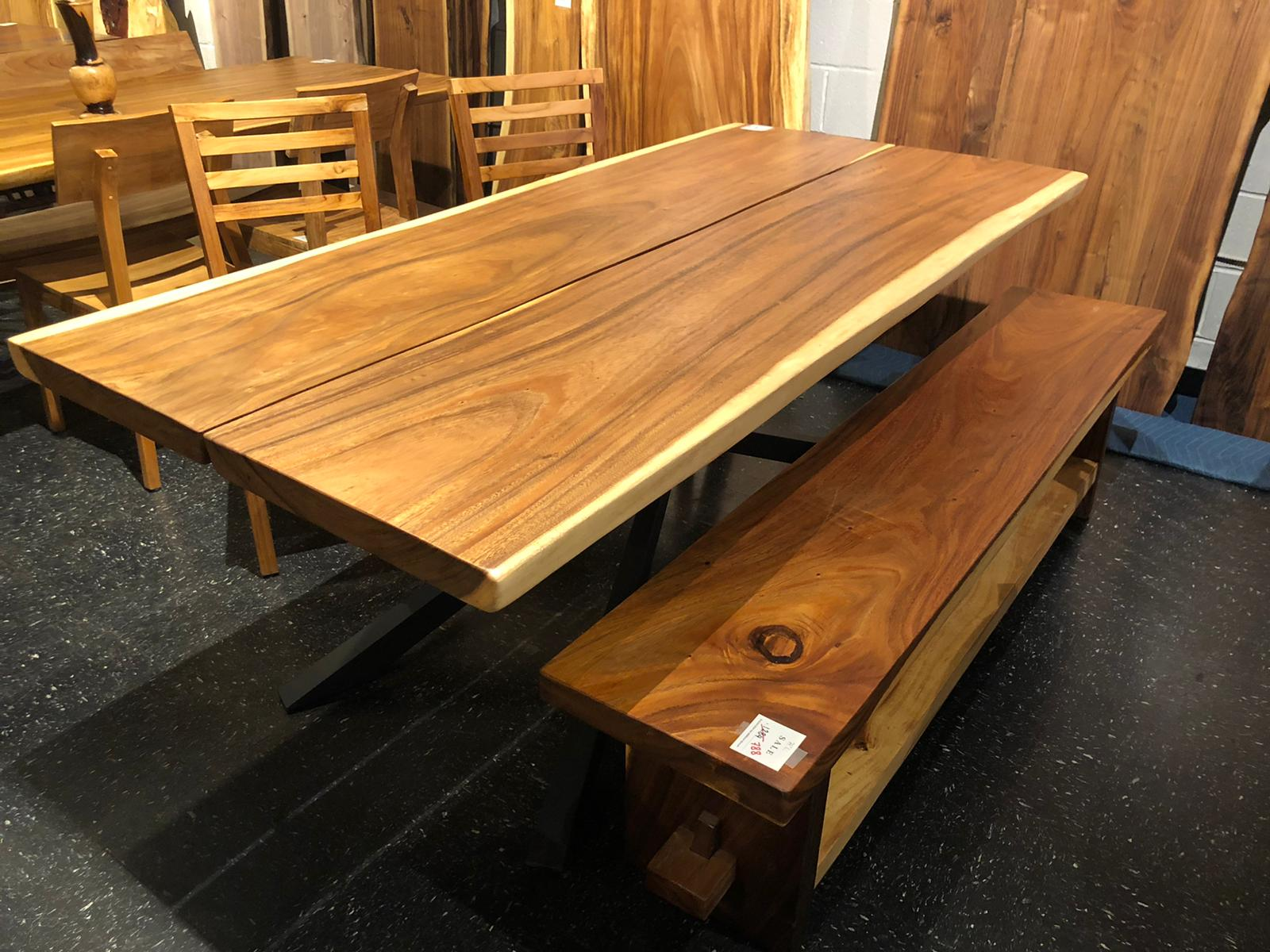 Live edge acacia wood dining table 79