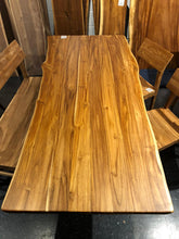 Live edge teak wood dining table 79 x 37 with metal base