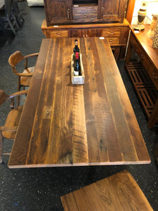 Reclaimed barn oak wood in natural finish with metal base