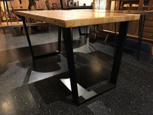Wormy ambrosia maple table with trapezoid metal base