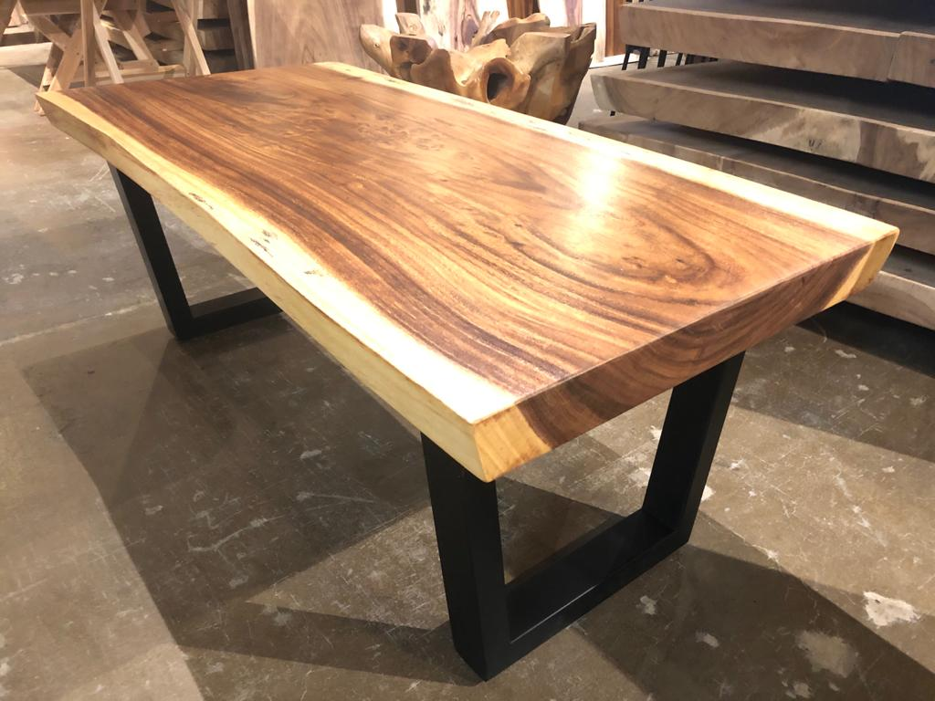 "Live edge solid acacia wood coffee table 47.5"" x 23"""