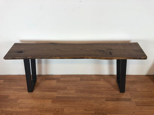 Live edge walnut console with metal base
