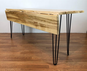 Drop leaf table maple wood with hairpin metal base (Custom)